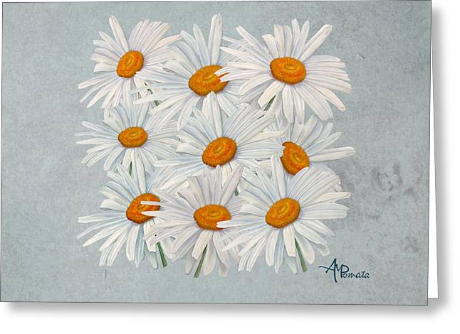 Bouquet Of White Daisies Greeting Card by Angeles M Pomata