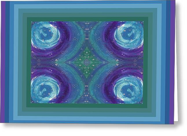 Universal Love Green Diamond Quad Greeting Card