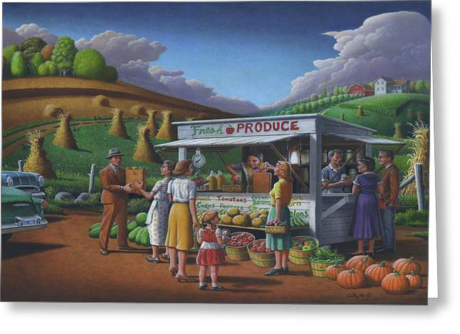 Fresh Produce - Roadside Produce Stand - Vegetables - Fruit Greeting Card