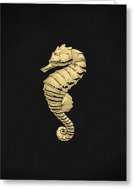 Greeting Card featuring the digital art Gold Seahorse On Black Canvas by Serge Averbukh