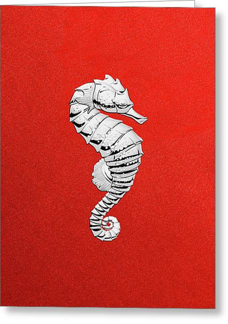 Greeting Card featuring the digital art Silver Seahorse On Red Canvas by Serge Averbukh