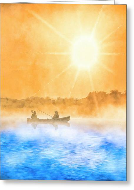 Greeting Card featuring the painting Quiet Moments - Fishing At Dawn by Mark Tisdale