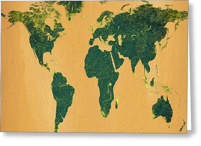 Big Abstract World Map  Greeting Card