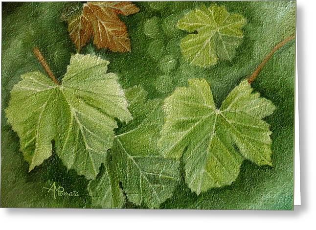 Vine Leaves Greeting Card by Angeles M Pomata
