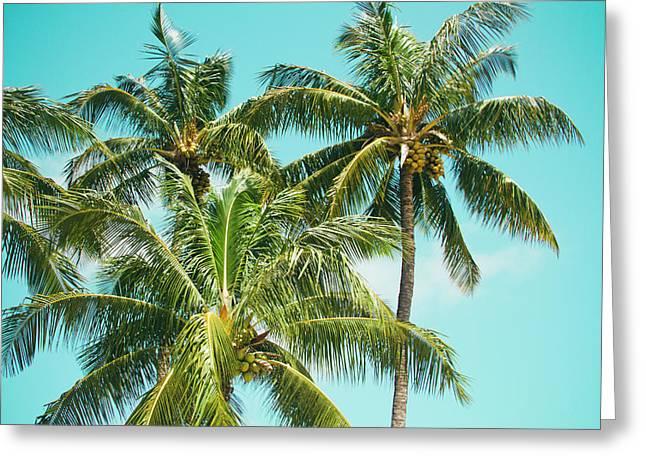 Coconut Palm Trees Sugar Beach Kihei Maui Hawaii Greeting Card