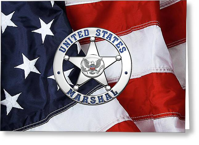 U. S. Marshals Service  -  U S M S  Badge Over American Flag Greeting Card by Serge Averbukh