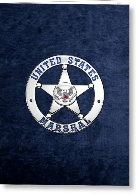 U. S. Marshals Service  -  U S M S  Badge Over Blue Velvet Greeting Card by Serge Averbukh