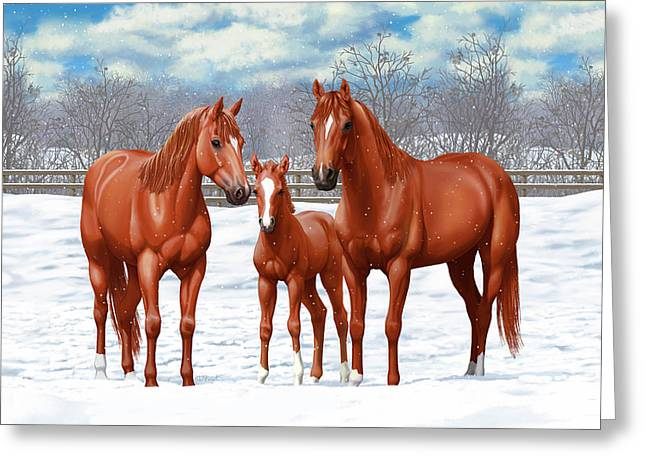 Greeting Card featuring the painting Chestnut Horses In Winter Pasture by Crista Forest