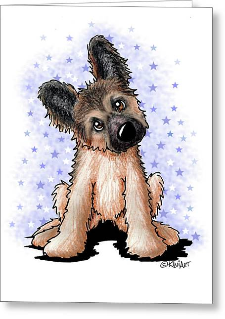 Curious Shepherd Puppy Greeting Card