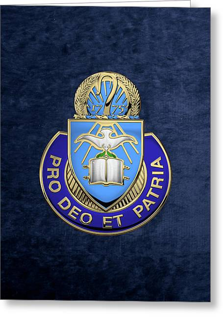 U. S. Army Chaplain Corps - Regimental Insignia Over Blue Velvet Greeting Card by Serge Averbukh