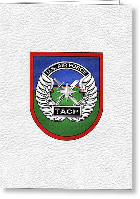 U. S.  Air Force Tactical Air Control Party -  T A C P  Beret Flash With Crest Over White Leather Greeting Card by Serge Averbukh