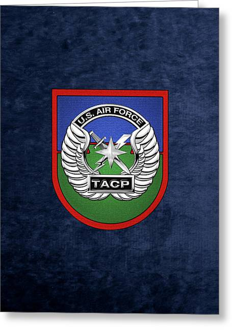 U. S.  Air Force Tactical Air Control Party -  T A C P  Beret Flash With Crest Over Blue Velvet Greeting Card by Serge Averbukh