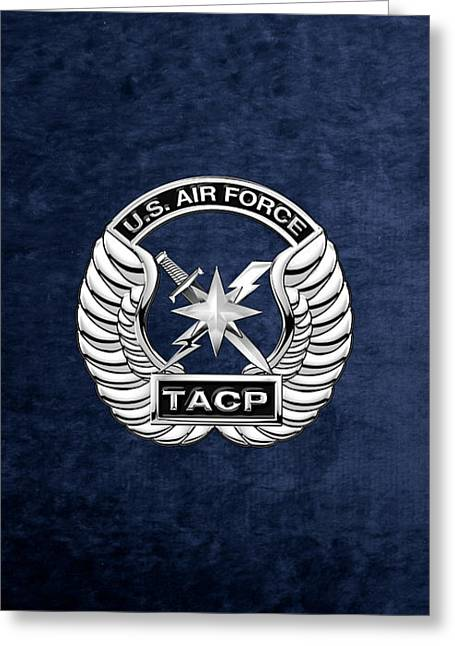 U. S.  Air Force Tactical Air Control Party -  T A C P  Badge Over Blue Velvet Greeting Card by Serge Averbukh