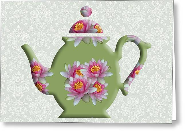 Water Lily Pattern Teapot Greeting Card