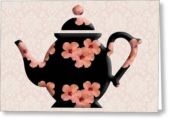 Hibiscus Pattern Teapot Greeting Card
