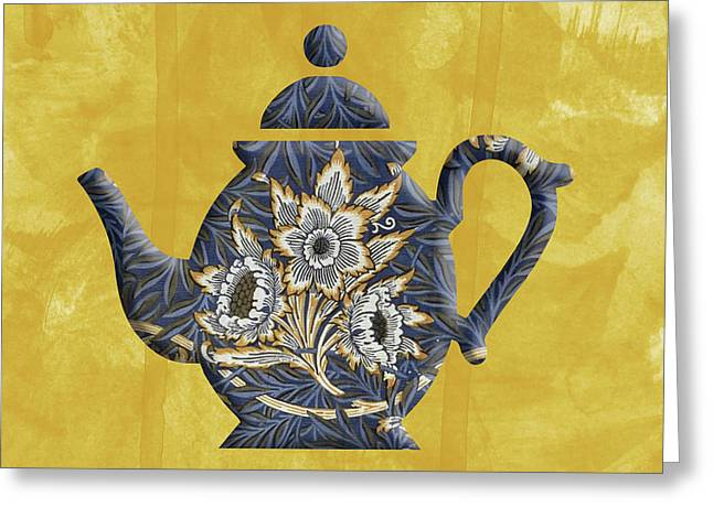 Tulips And Willow Pattern Teapot Greeting Card