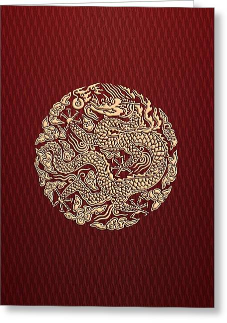 Gold Dragon Shen Long Kung Fu Clan Greeting Card by Three Second