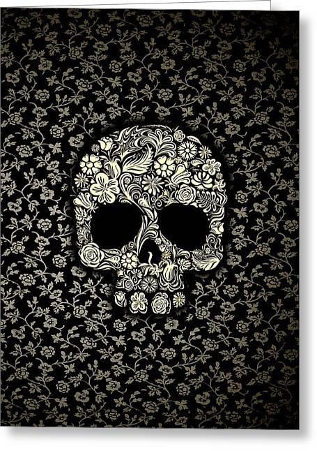 Black And White Floral Sugar Skull Greeting Card