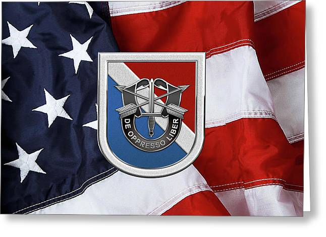 U. S.  Army 11th Special Forces Group - 11 S F G  Beret Flash Over American Flag Greeting Card by Serge Averbukh