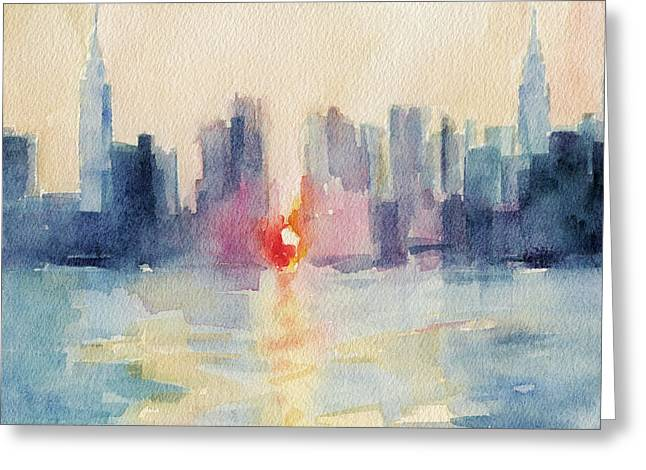 Manhattanhenge Note Cards Greeting Card