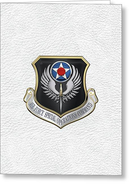 Air Force Special Operations Command -  A F S O C  Shield Over White Leather Greeting Card by Serge Averbukh