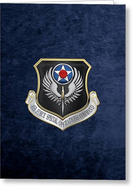 Air Force Special Operations Command -  A F S O C  Shield Over Blue Velvet Greeting Card by Serge Averbukh