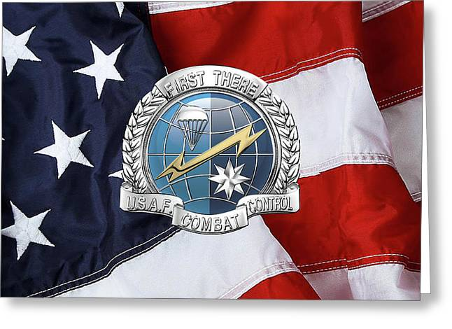 U. S.  Air Force Combat Control Teams - Combat Controller C C T Badge Over American Flag Greeting Card by Serge Averbukh