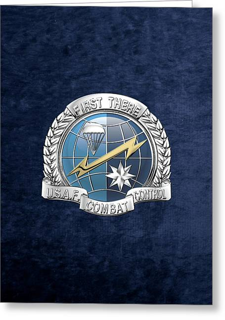 U. S.  Air Force Combat Control Teams - Combat Controller C C T Badge Over Blue Velvet Greeting Card by Serge Averbukh