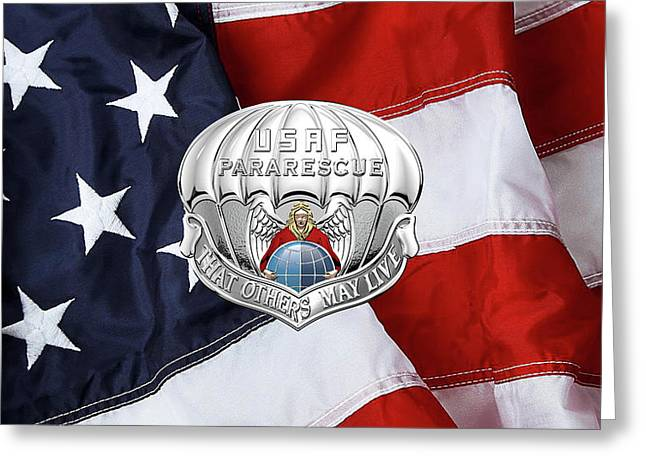 U. S.  Air Force Pararescuemen - P J Badge Over American Flag Greeting Card by Serge Averbukh