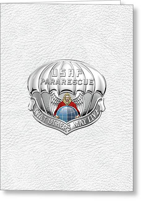U. S.  Air Force Pararescuemen - P J Badge Over White Leather Greeting Card by Serge Averbukh