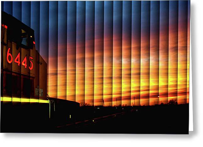 Up 6445 Sunset - The Slat Collection Greeting Card