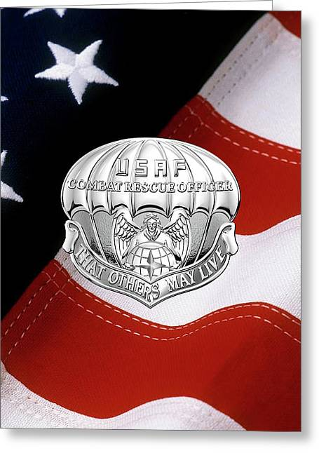 U. S.  Air Force Combat Rescue Officer - C R O Badge Over American Flag Greeting Card by Serge Averbukh