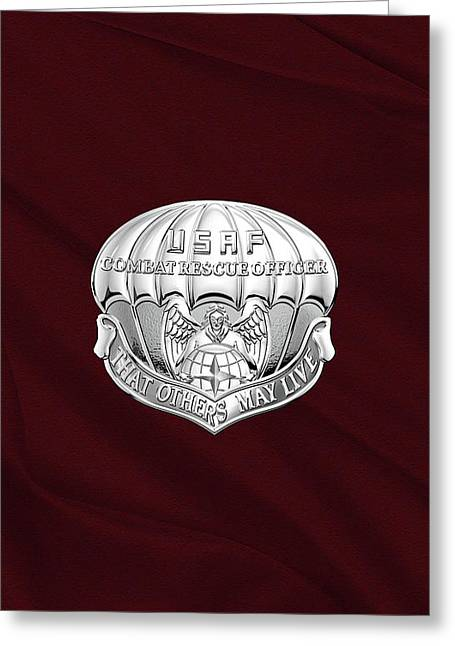 U. S.  Air Force Combat Rescue Officer - C R O Badge Over Maroon Felt Greeting Card by Serge Averbukh