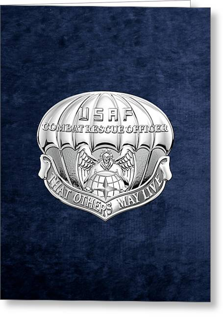 U. S.  Air Force Combat Rescue Officer - C R O Badge Over Blue Velvet Greeting Card by Serge Averbukh