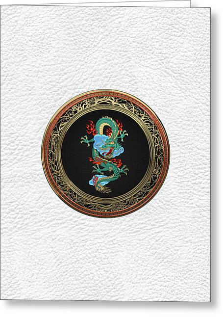 Treasure Trove - Turquoise Dragon Over White Leather Greeting Card by Serge Averbukh