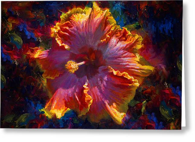 Rainbow Hibiscus Tropical Flower Wall Art Botanical Oil Painting Radiance  Greeting Card