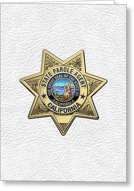 California State Parole Agent Badge Over White Leather Greeting Card by Serge Averbukh