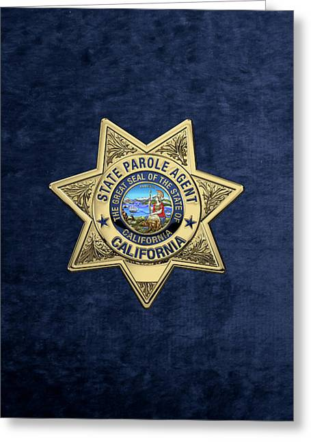 California State Parole Agent Badge Over Blue Velvet Greeting Card by Serge Averbukh