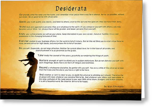 Greeting Card featuring the mixed media Desiderata - Child Of The Universe by Mark Tisdale