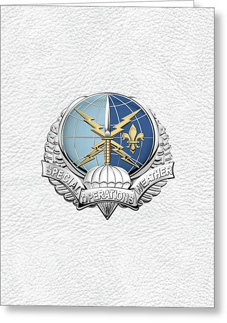 Special Operations Weather Team -  S O W T  Badge Over White Leather Greeting Card by Serge Averbukh