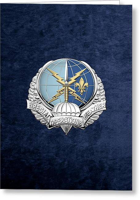 Special Operations Weather Team -  S O W T  Badge Over Blue Velvet Greeting Card by Serge Averbukh