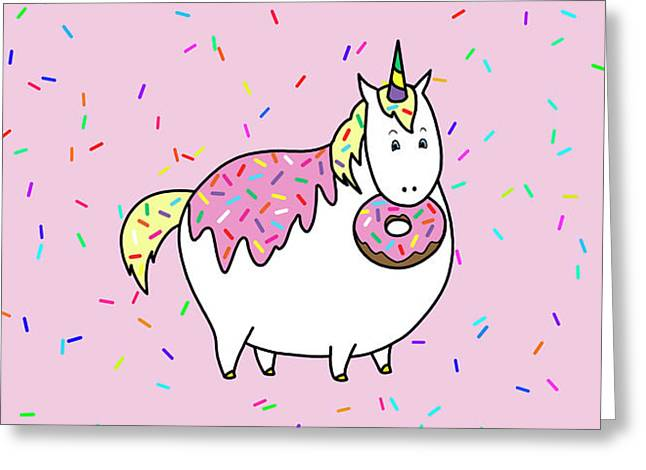 Greeting Card featuring the painting Chubby Unicorn Eating Sprinkle Doughnut by Crista Forest