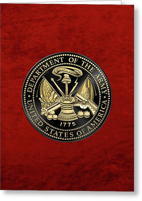 U. S. Army Seal Black Edition Over Red Velvet Greeting Card