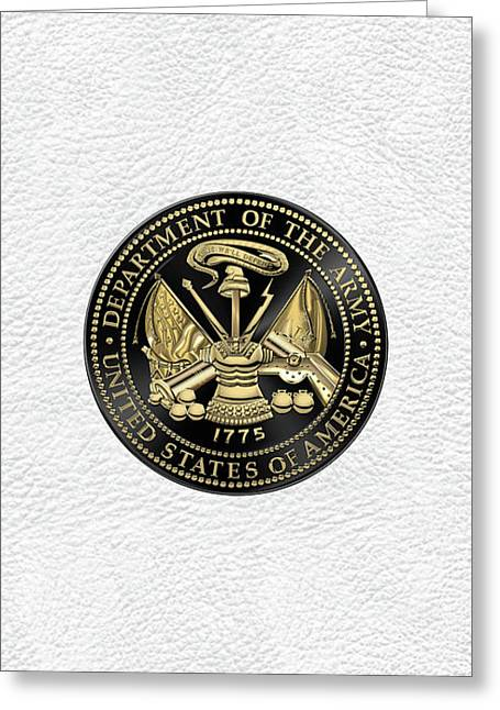 U. S. Army Seal Black Edition Over White Leather Greeting Card