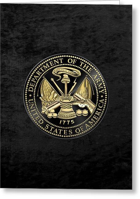 U. S. Army Seal Black Edition Over Black Velvet Greeting Card