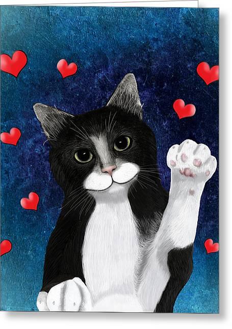 Loving Tuxedo Cat Greeting Card