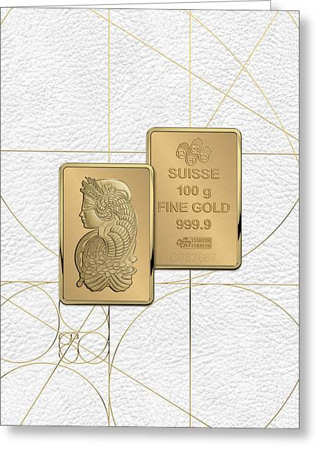 Fortuna Suisse Minted Gold Bar - Obverse And Reverse Over White Leather Greeting Card