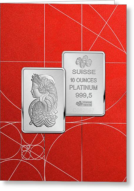 Fortuna Suisse Minted Platinum Bar - Obverse And Reverse Over Red Canvas Greeting Card