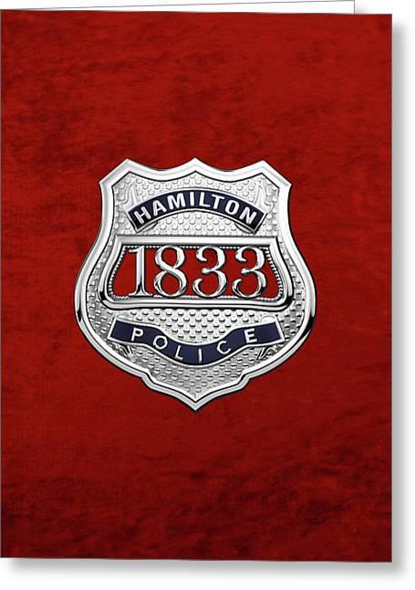 Hamilton Police Service  -  H P S  Commemorative Officer Badge Over Red Velvet Greeting Card