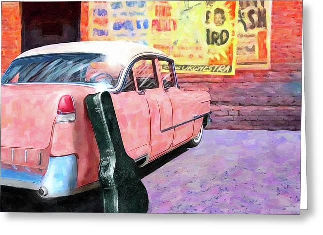 Pink Cadillac At The Stage Door Greeting Card